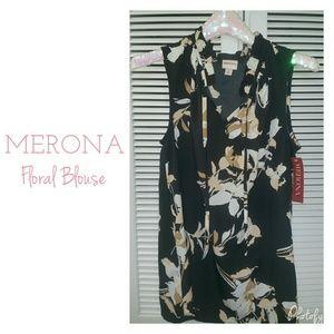 NWT Merona Black Floral Sleeveless Blouse Top
